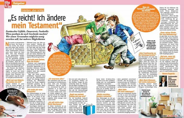 """Zeitungsauszug zum Thema """"Es reicht! Ich ändere mein Testament"""" von Rechtsanwältin Marie Vandersanden"""