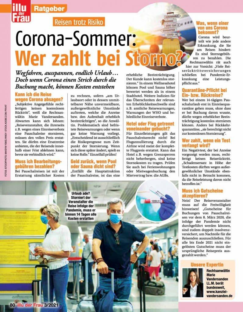 """Zeitungsauszug zum Thema """"Corona-Sommer: Wer zahlt bei Storno?"""" von Rechtsanwältin Marie Vandersanden"""